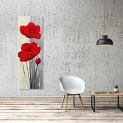 Canvas 20 x 60 - Red flowers on a gray background