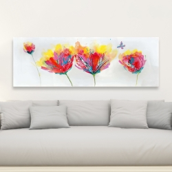 Canvas 20 x 60 - Colorful flowers with a butterfly