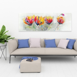 Canvas 20 x 60 - Four colored flowers on gray background