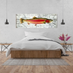 Canvas 20 x 60 - Pink trout on a map