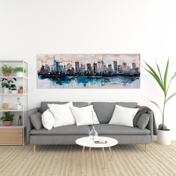 Canvas 20 x 60 - Abstract city with reflection on water