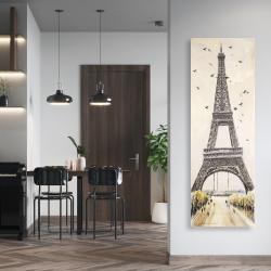 Canvas 20 x 60 - Eiffel tower with flying birds