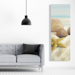 Canvas 20 x 60 - Starfish and seashells view on the beach