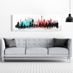 Canvas 20 x 60 - Colorful city with rose gold lines
