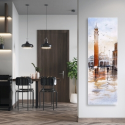 Canvas 20 x 60 - City sketch with a tower