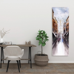 Canvas 20 x 60 - Watercolor style busy street