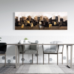 Canvas 20 x 60 - Brown abstract cityscape