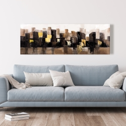 Canvas 20 x 60 - Earthy tones abstract cityscape