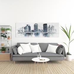 Canvas 20 x 60 - Texturized blue colors cityscape