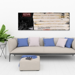 Canvas 20 x 60 - Wooden pallets looking art with numbers