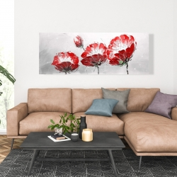 Canvas 20 x 60 - Wild flowers on gray background