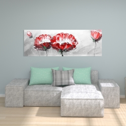 Canvas 20 x 60 - Two wild flowers on gray background