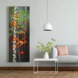 Canvas 20 x 60 - Colorful dotted leaves birches