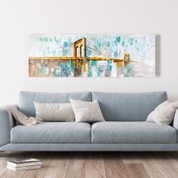 Canvas 20 x 60 - Gold brooklyn bridge