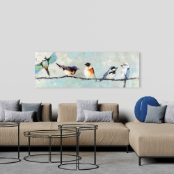 Canvas 20 x 60 - Small colorful birds