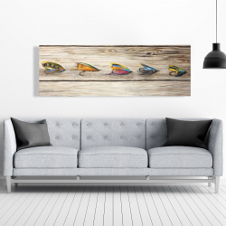 Canvas 20 x 60 - Fishing flies with wood background