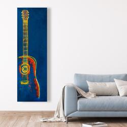 Canvas 20 x 60 - Modern blue abstract guitar