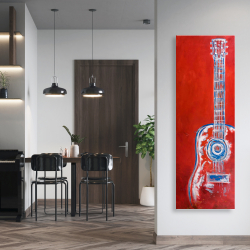 Canvas 20 x 60 - Modern red abstract guitar