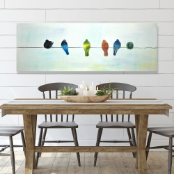 Canvas 20 x 60 - Perched abstract birds
