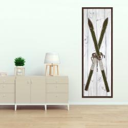 Canvas 20 x 60 - Green vintage skis