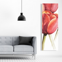 Canvas 20 x 60 - Blossoming tulips closeup