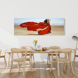 Canvas 20 x 60 - Woman with a long red dress in the desert