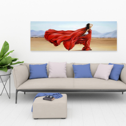 Canvas 20 x 60 - Red dress in the desert