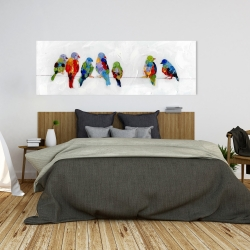 Canvas 20 x 60 - Colorful birds on a wire