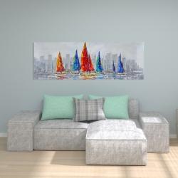 Canvas 20 x 60 - Colorful boats near a gray city