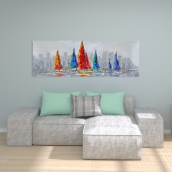 Canvas 20 x 60 - Colorful boats near a gray city
