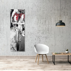 Canvas 20 x 60 - Red cyclist