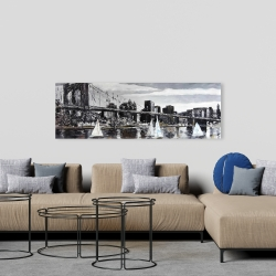 Canvas 20 x 60 - Brooklyn bridge with sailboats