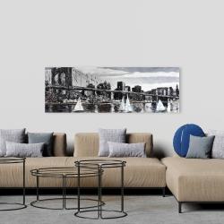 Canvas 20 x 60 - Brooklyn bridge with sailboats