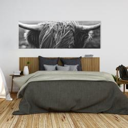 Canvas 20 x 60 - Monochrome portrait highland cow