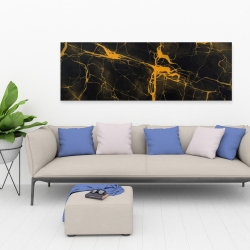 Canvas 20 x 60 - Black and gold marble texture