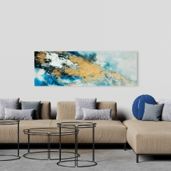 Canvas 20 x 60 - Blue and gold marble