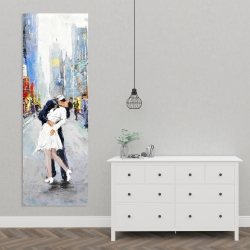 Canvas 20 x 60 - Couple kissing on the street