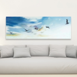 Canvas 20 x 60 - Birds in the sky
