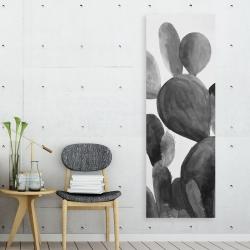Canvas 20 x 60 - Grayscale paddle cactus plant