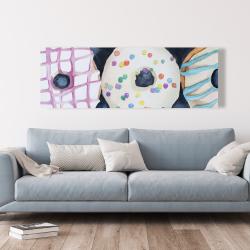 Canvas 20 x 60 - Watercolor delicious looking doughtnuts