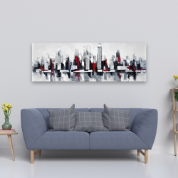 Canvas 20 x 60 - Gray and red floating cityscape