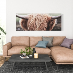 Canvas 20 x 60 - Desaturated highland cow