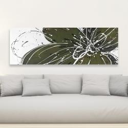 Canvas 20 x 60 - Green flower with splash outline