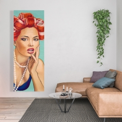 Canvas 20 x 60 - Pin up girl with curlers