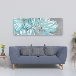 Canvas 20 x 60 - Three little abstract blue flowers