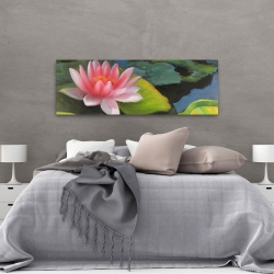 Canvas 20 x 60 - Water lilies and lotus flowers