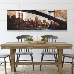 Canvas 20 x 60 - Bridge in the city at sunset