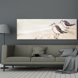 Canvas 20 x 60 - Two sandpipers on the beach