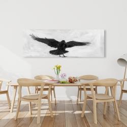 Canvas 20 x 60 - Crow in flight
