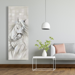 Canvas 20 x 60 - White horse with his mane in the wind